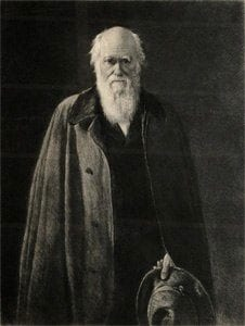 Oil painting of Darwin by John Collier Etching by Leopold Flameng